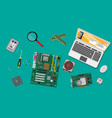 assembling pc personal computer hardware vector image vector image