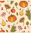 autumn doodle seamless pattern vector image vector image