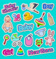 baby shower doodle with newborn toys vector image vector image