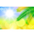 background with bright sun and palm leaves vector image vector image