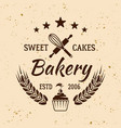 bakery and pastries vintage emblem vector image vector image
