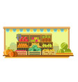 big market stand with ripe organic fruits and vector image vector image