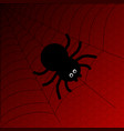 black cartoon spider with web on red background vector image