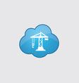 Blue cloud building crane icon vector image vector image