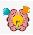 brain bulb idea cup coffee vector image