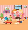 children having fun in living room vector image vector image