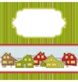 christmas card cute little town in winter vector image vector image