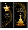 Christmas card with gold star and trees Low Poly vector image vector image