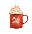 christmas green cup coffee with cookies vector image vector image