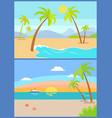 coastline seaview poster tropical beach sea sand vector image