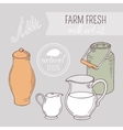 Collection of hand drawn dairy farm objects vector image