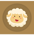 Cute Sheep Smiling in Brown Circle vector image vector image