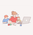 distant work during maternity leave concept vector image