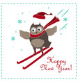 funny and cute skiing owl new year card vector image vector image