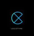 geometric shape letter c line monogram vector image