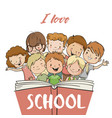 group children with book vector image
