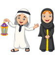 happy arab muslim kids with ramadan lantern vector image vector image