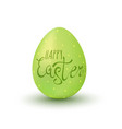 happy easter on green egg vector image vector image