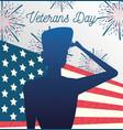 happy veterans day soldier saluting fireworks vector image vector image