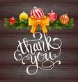 holiday gift card with hand lettering thank you vector image