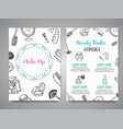 make up hand drawn brochures doodle beauty vector image vector image