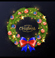 merry christmas 2019 poster christmas wreath with vector image