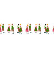 oktoberfest dancing couple seamless border vector image