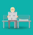 old man reading the newspaper vector image