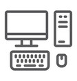 pc line icon technology and computer desktop vector image vector image