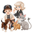 people with pets concept vector image