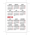 Pocket calendar 2016 template vector image