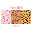 set animal seamless prints tiger and leopard vector image vector image