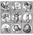 Set of antique animals engravings vector | Price: 1 Credit (USD $1)