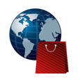 shopping online bag and world commerce vector image