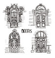 sketch of doors vector image