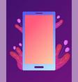 smart phone isolated on neon purple background vector image