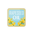 square label with bright-yellow rapeseed flowers vector image vector image