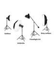 Studio lighting equipment isolated on white vector image vector image