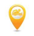 swiming icon yellow map pointer vector image vector image
