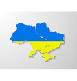 Ukraine flag map with shadow effect vector image