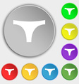 Underwear icon sign Symbol on eight flat buttons vector image