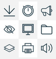 user icons line style set with downloading vector image vector image