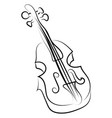 violin drawing on white background vector image vector image
