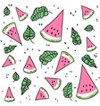 watermelon slices and leaves seamless pattern vector image