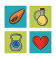 white background with frames of healthy lifestyle vector image vector image