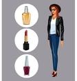 wo modern with lipstick perfume and nail polish vector image