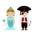 Cute kids in halloween costumes cartoon vector image