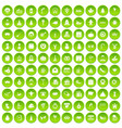 100 holidays icons set green circle vector image vector image