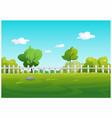 a garden tree with green grass vector image vector image