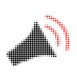 announce horn halftone dotted icon vector image